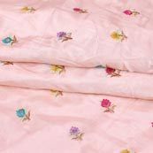 Baby Pink Yellow and Pink Flower Chinnon Embroidery Fabric-29271