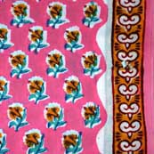 Baby Pink Yellow and Turquoise Green Beautiful Fower Hand Block Print Cotton Fabric