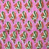 Baby Pink and Green Flower Pattern Hand Block Print Cotton Fabric