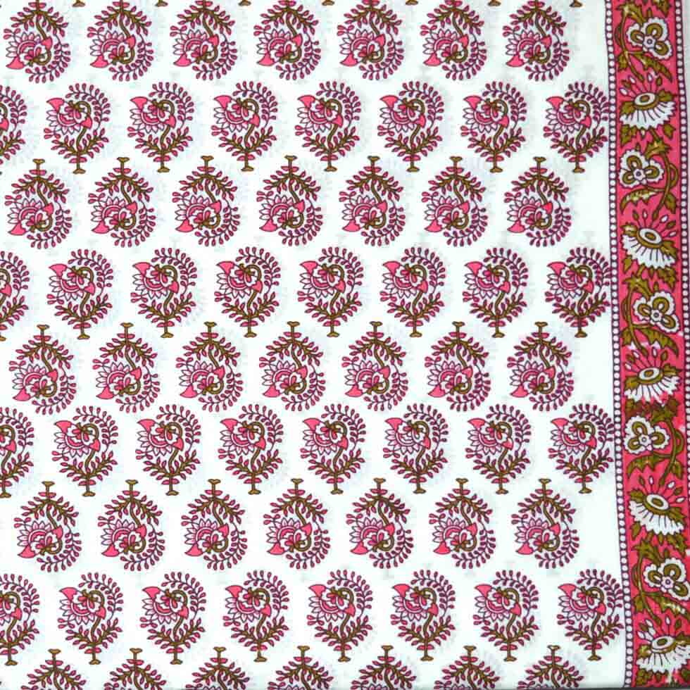 Beautiful Flower Block Printed Cotton Fabric