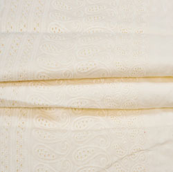 Beige Flower Lucknowi Chikan Fabric-95045
