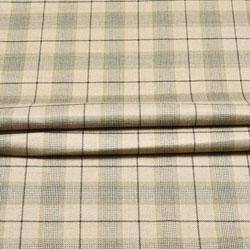 Beige Black Check Wool Fabric-90137