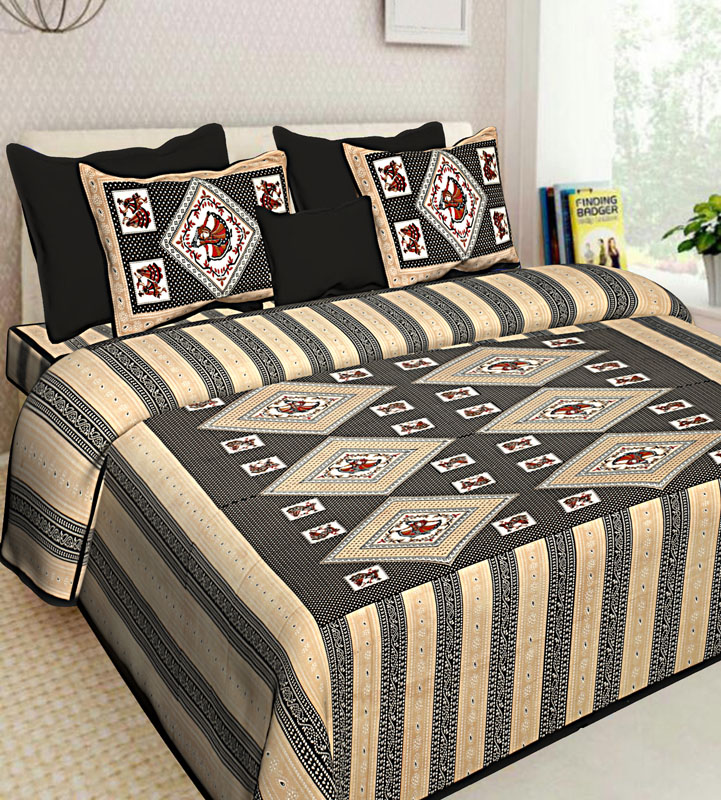 Beige Black Cotton Jaipuri Bedsheet-583