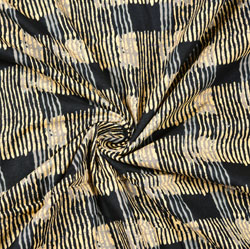 Beige Black Stripe Block Print Cotton Fabric-28435