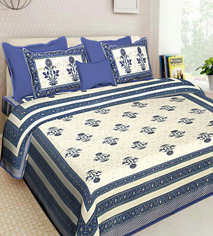 Beige Blue Cotton Jaipuri Bedsheet-550