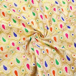 Beige Blue and Golden Paisley Brocade Silk Fabric-12507