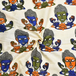 Beige Blue and Green Buddha Cotton Kalamkari Fabric-28032