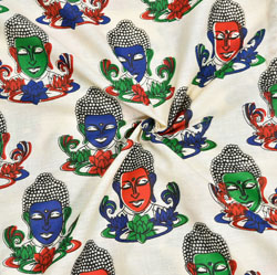 Beige Blue and Green Buddha Cotton Kalamkari Fabric-28034