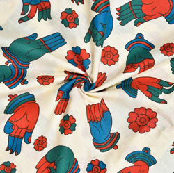 Beige Blue and Red Hand-Mudra Cotton Kalamkari Fabric-28030
