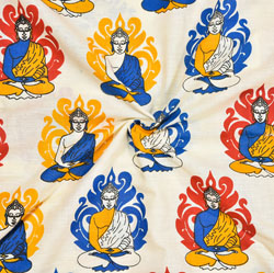 Beige Blue and Yellow Buddha Cotton Kalamkari Fabric-28015