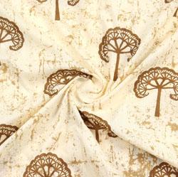 Beige Brown Block Print Cotton Fabric-16023