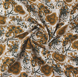 Beige Brown Block Print Cotton Fabric-16165