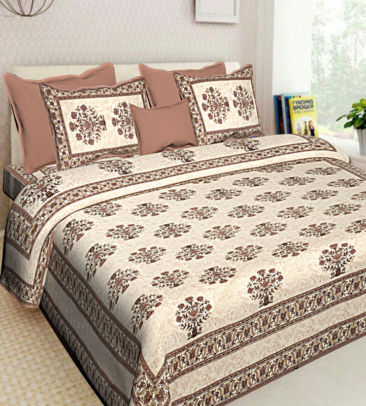 Beige Brown Cotton Jaipuri Bedsheet-565