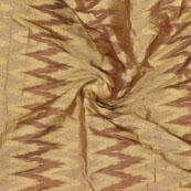 Beige Brown Zig Zag Chanderi Silk Fabric-9100