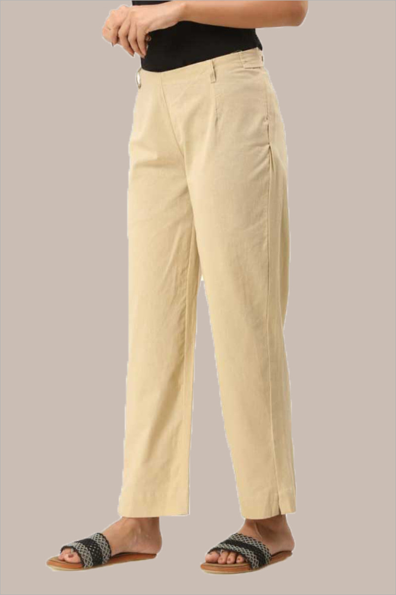 Beige Cotton Ankle Length Pant-33719