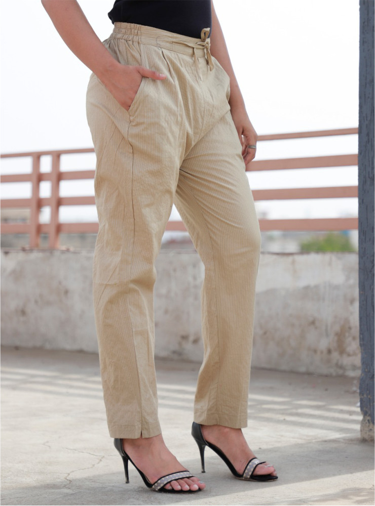 Beige Cotton Narrow Pant-33468