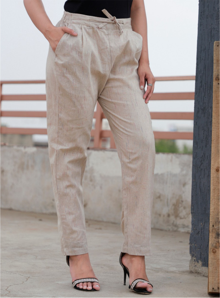 Beige Cotton Khadi Narrow Pant-33478