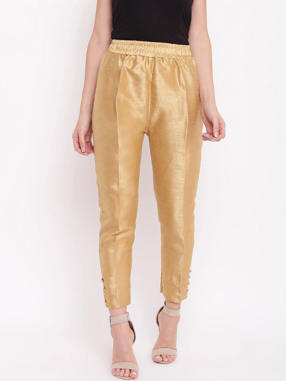 Beige Cotton Silk Ankle Pant-34262