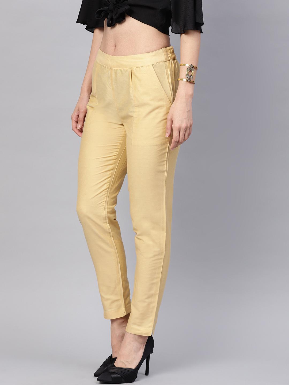 Beige Cotton Silk Ankle Pant-34265