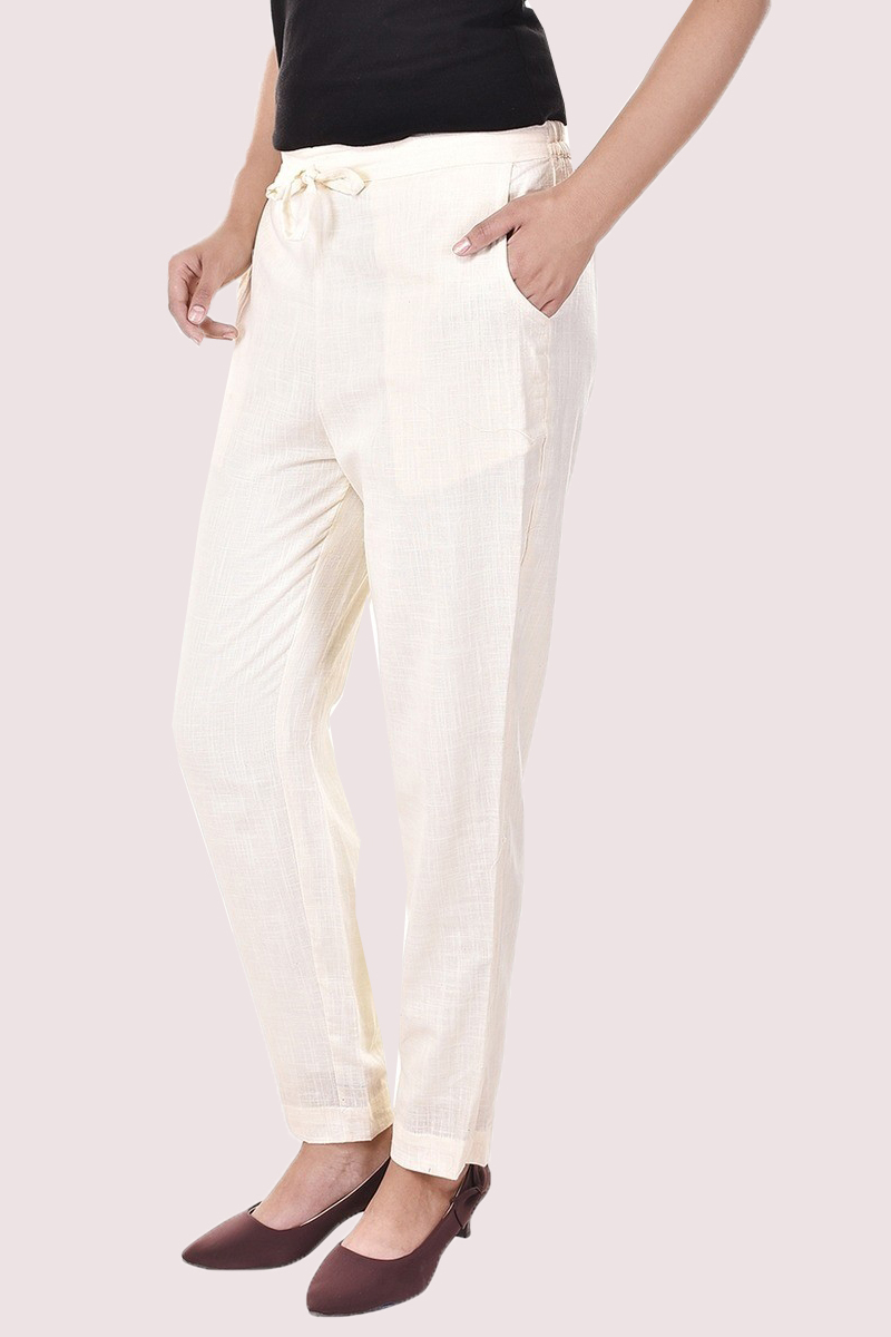 Beige Cotton Slub Solid Women Pant-33289
