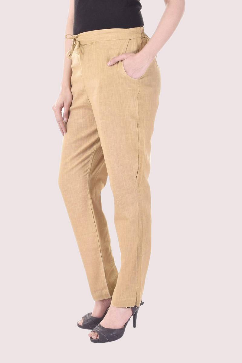 Beige Cotton Slub Solid Women Pant-33292