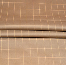 Beige Cream Checks Wool Fabric-90178