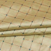 Beige Golden Checks Zari Brocade Silk Fabric-9291