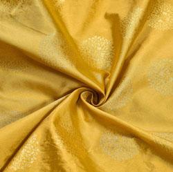 Beige Golden Circle Brocade Silk Fabric-12044