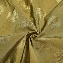 Beige Golden Circle Brocade Silk Fabric-12239