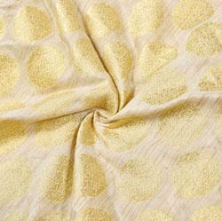 Beige Golden Circle Brocade Silk Fabric-12525