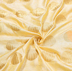 Beige Golden Circle Brocade Silk Fabric-12539