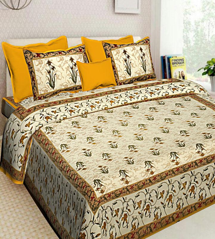 Beige Golden Cotton Jaipuri Bedsheet-635