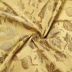 Beige Golden Floral Brocade Silk Fabric-12133