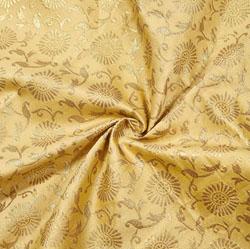 Beige Golden Floral Brocade Silk Fabric-12410