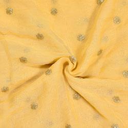 Beige Golden Embroidery Silk Net Fabric-18627