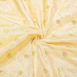 Beige Golden Paisley Brocade Silk Fabric-12489