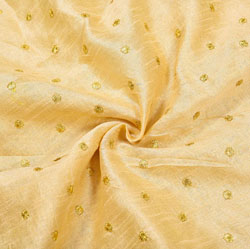 Beige Golden Polka Brocade Silk Fabric-12406