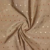 Beige Golden Polka Brocade Silk Fabric-9356