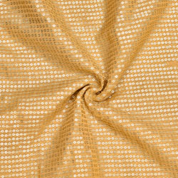 Beige Golden Embroidery Silk Sequin Fabric-18691