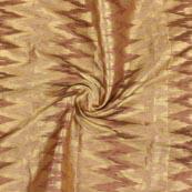 Beige Golden Zig Zag Brocade Silk Fabric-9208