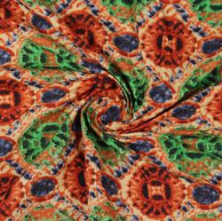 Beige Green Block Print Cotton Fabric-16097