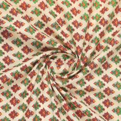 Beige Green Block Print Cotton Fabric-16101