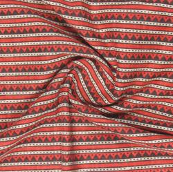Beige Green Block Print Cotton Fabric-16125