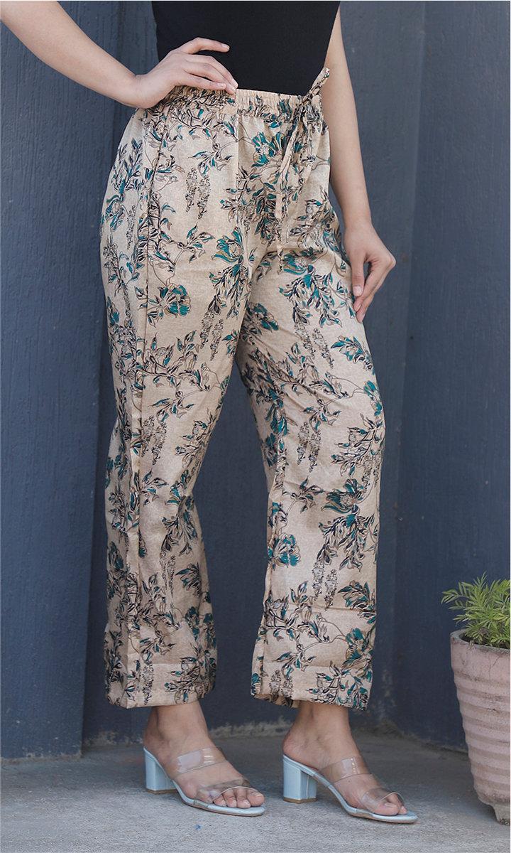 Beige Green Manipuri Silk Floral Palazzo Pant-34505