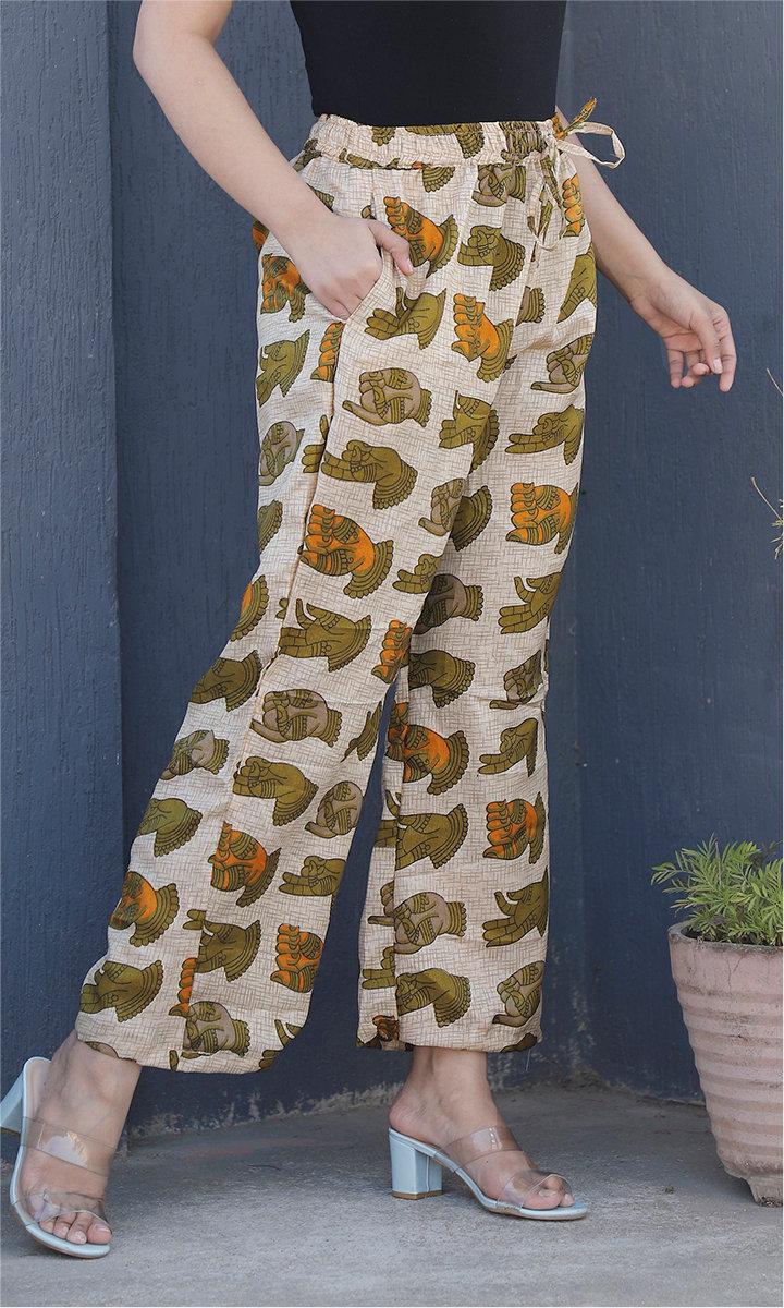 Beige Green Manipuri Silk Handmudra Palazzo Pant-34501