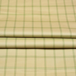 Beige Green Checks Wool Fabric-90257