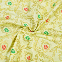 Beige Green and Golden Floral Brocade Silk Fabric-12366