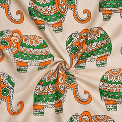 Beige Green and Orange Elephant Cotton Kalamkari Fabric-28017