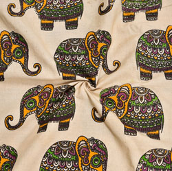 Beige Green and Yellow Elephant Cotton Kalamkari Fabric-28060