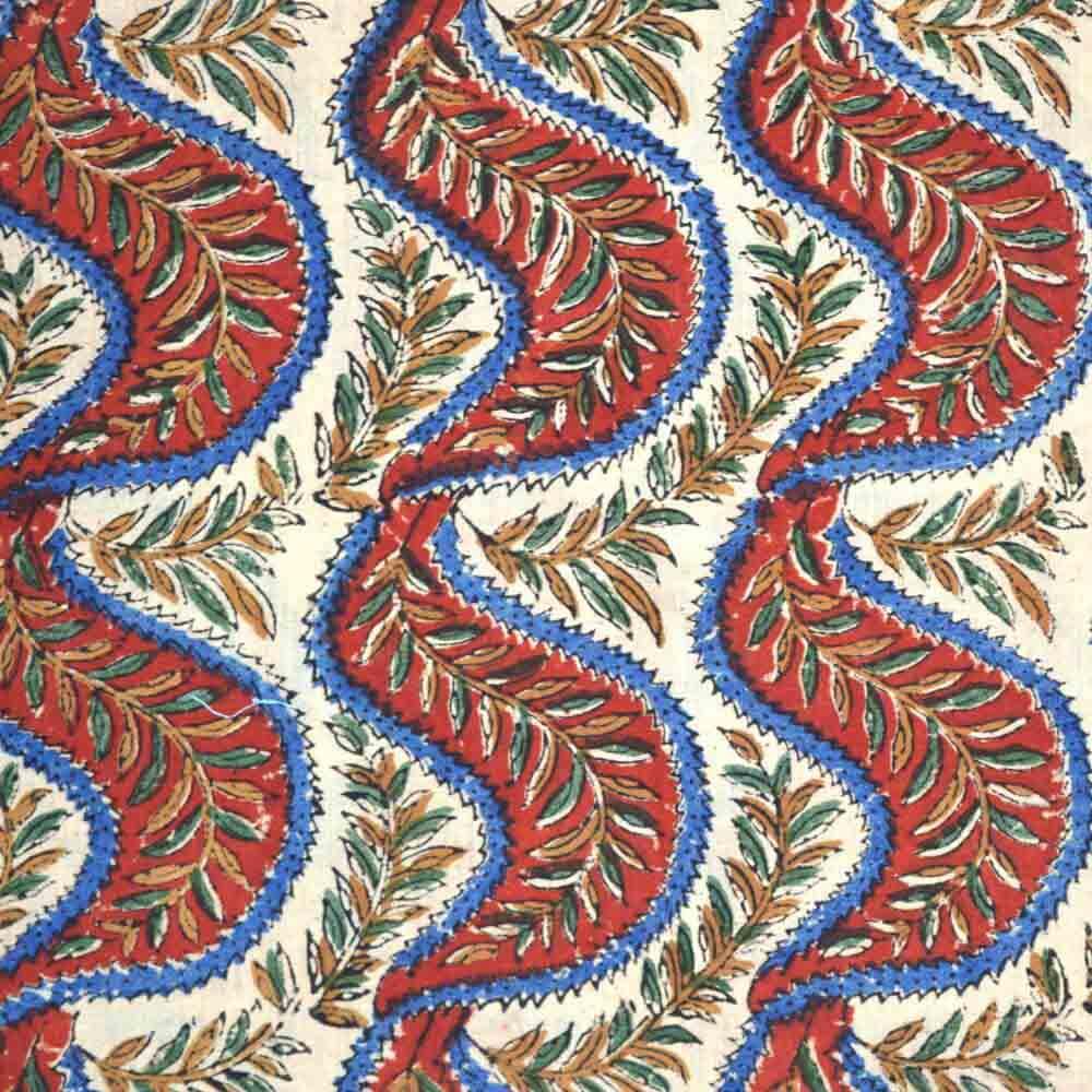 Beige Kalamkari Pattern Cotton Fabric by the Yard
